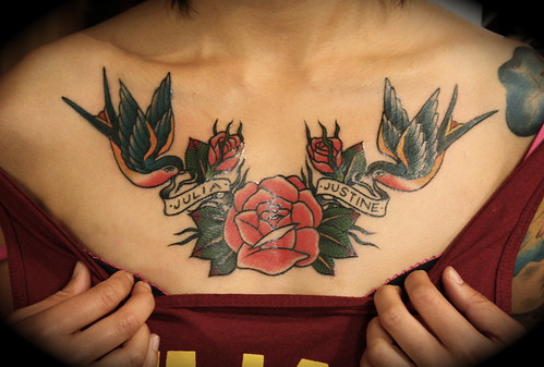 Rose and swallows chest piece jackie 39 s chest piece for Chest piece tattoos female