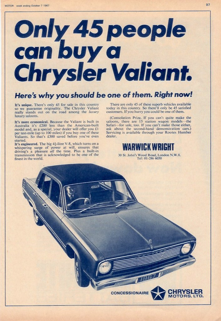 1967 Chrysler Vc Valiant Ad Uk British Magazine Ad For
