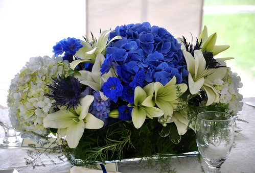 Table centre piece table arrangements beautiful blue for 52 week table
