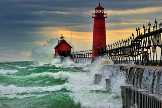 """September Gale""  Grand Haven Breakwater Lighthouse is located in the harbor of Grand Haven, Michigan 