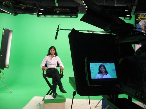 Author Sharlene Azam in SM Studio for live interview directed from Canada through Skype | by Bob Bekian