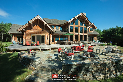 Exterior Rear Elevation | Milled Log Home | Located in Maine | PrecisionCraft Log Homes | by PrecisionCraft Log & Timber Homes