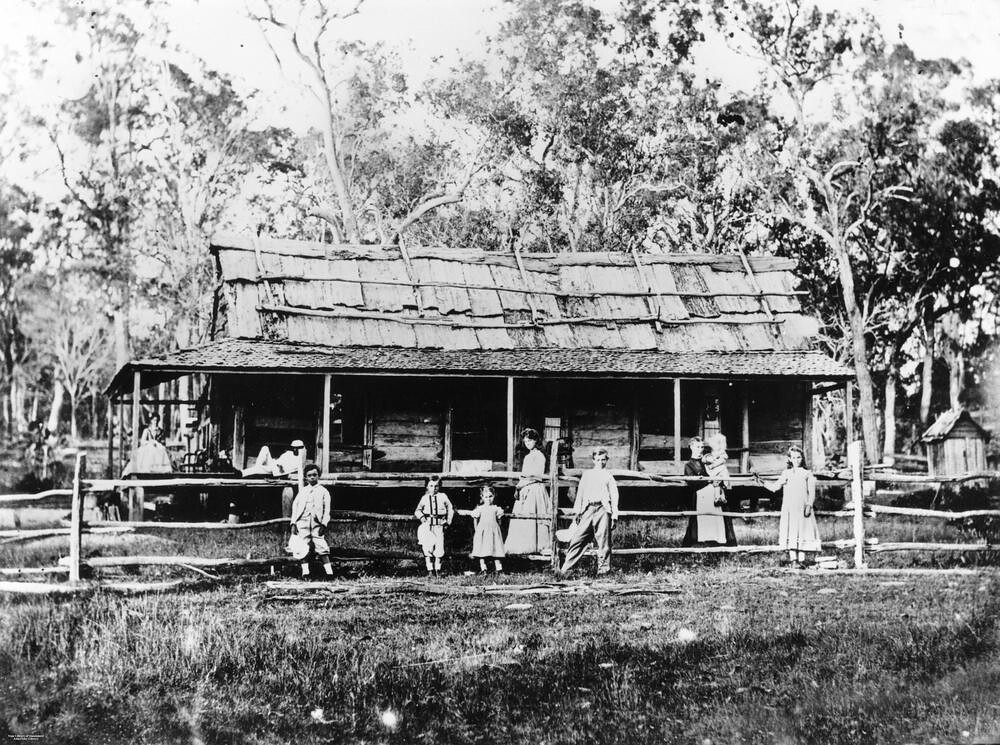 Family outside a homestead at ormeau ca 1875 for Queensland terrace state library
