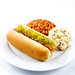 Hot Dog with Baked Beans and Potato Salad