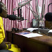 Morning radio show host at the Joy FM studio in Accra