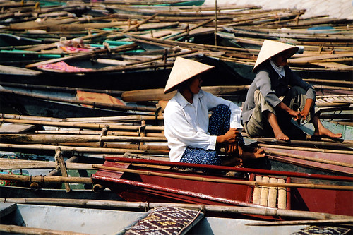 waiting on a sea of boats (Nihn Bihn, Vietnam)