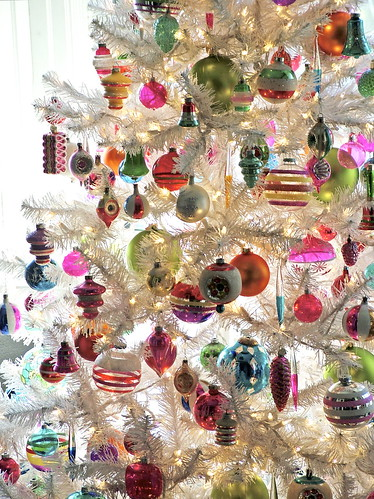Vintage Ornaments On White Christmas Tree Our 2009