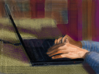 iPad Portrait Of Clay Kramer's Hands in Late Afternoon Light  at Women 2.0 Labs, Summer 2010 | by DNSF David Newman
