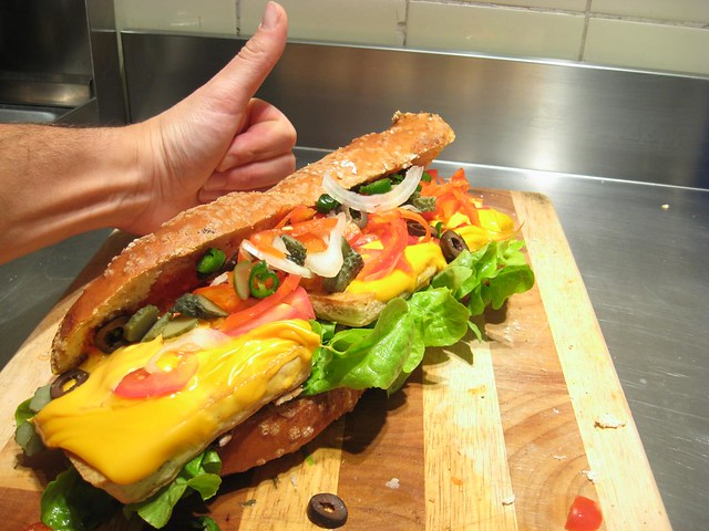 footlong grilled tofu sandwich | In a pretzel bread. With ...