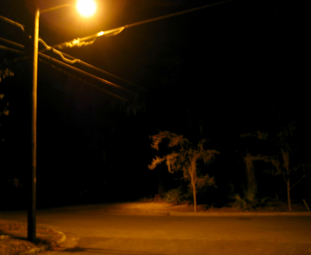 Night Street Light Pole Road Tree Christopher Sessums