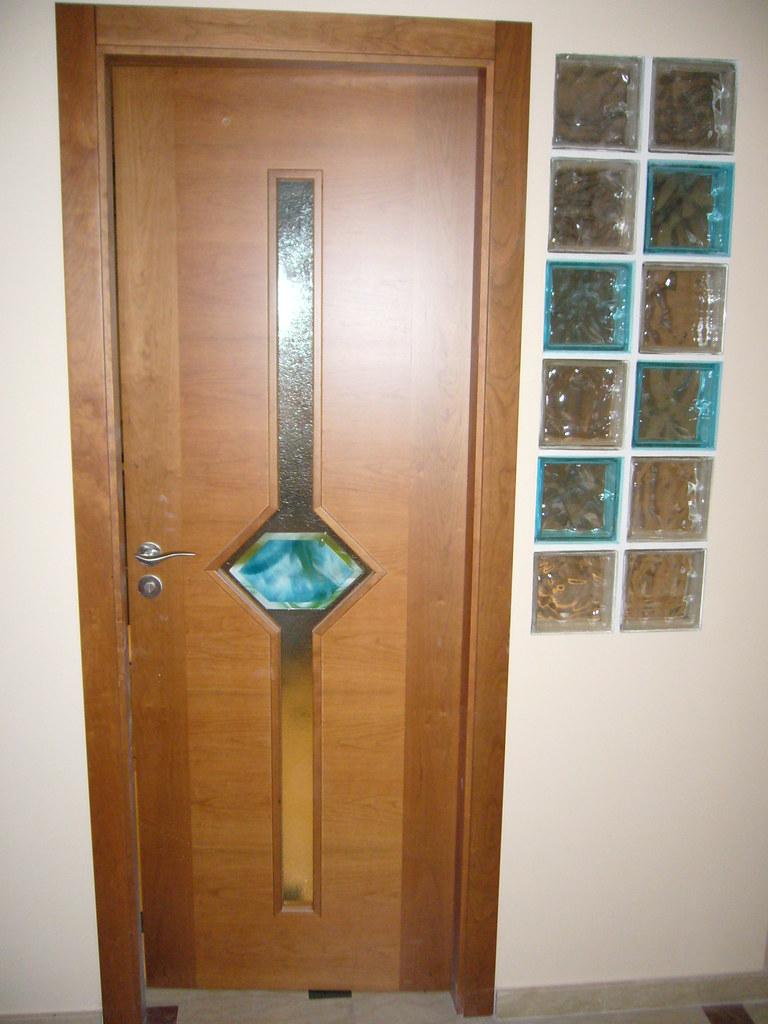 Vidrio fussing en puerta y paret de bloques de vidrio - Bloques de paves ...