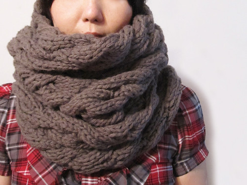 Wave Infinite Scarf in Taupe | by Tomiffy Design