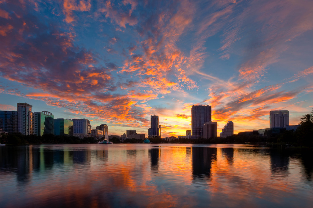 Lake Eola Orlando Sunset Recommended View On Black