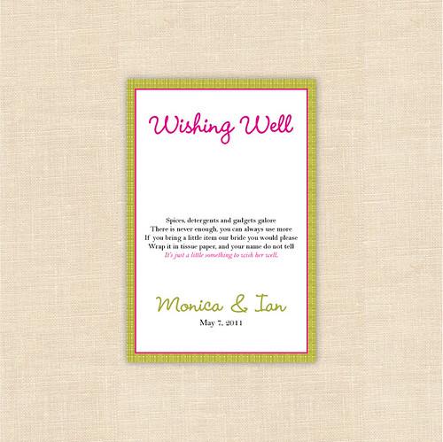 Wishing Well Custom Bridal Shower Insert Card Blush