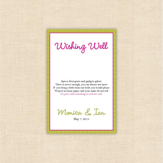 Wishing Well   Custom bridal shower insert card   blush ...