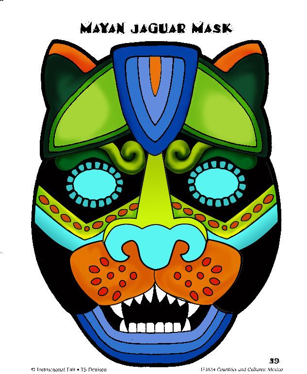 Mayan Jaguar Mask Coloured For Helen Classic Work
