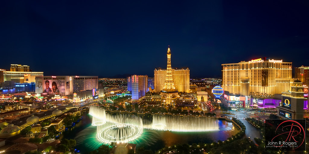 Las Vegas Bellagio Fountains Panorama Last Week We Took