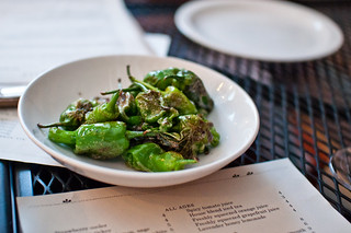 blistered Shelly's Herbs padron peppers, fluer de sel | by rick