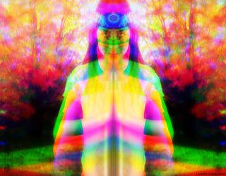 LARRY CARLSON, DOUBLE RAINBOW GIRL, c-print, 30x34in., 2011. | by LARRY  CARLSON