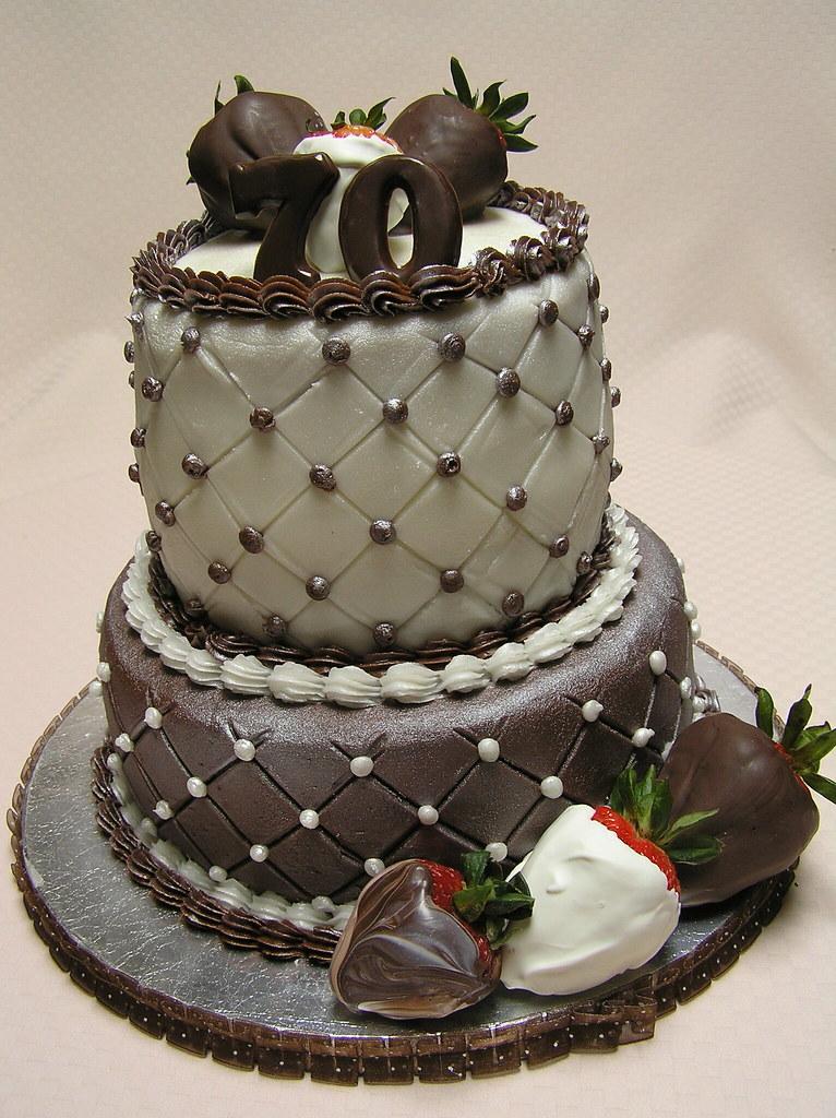 Happy 70th Birthday Cake Twotier birthday cake Bottom ti Flickr