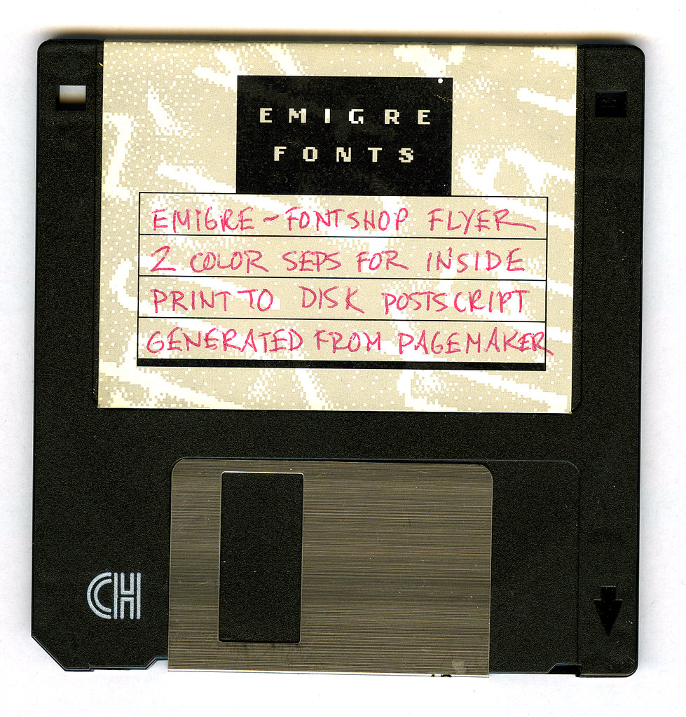 Emigre Fonts | A floppy from Emigre Fonts with material