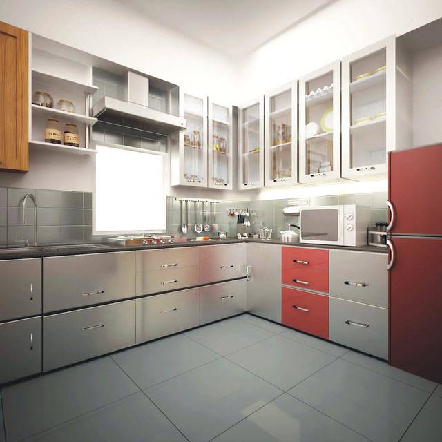 Designer modular kitchen with chimney hub in nandan insp for Kitchen trolley design