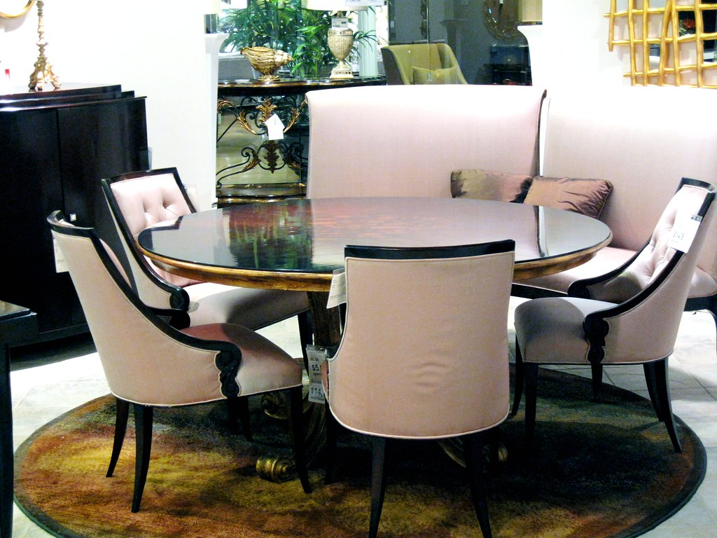 A Lovely Pink Wood Formal Dining Room Table Chairs At Furnitureland South