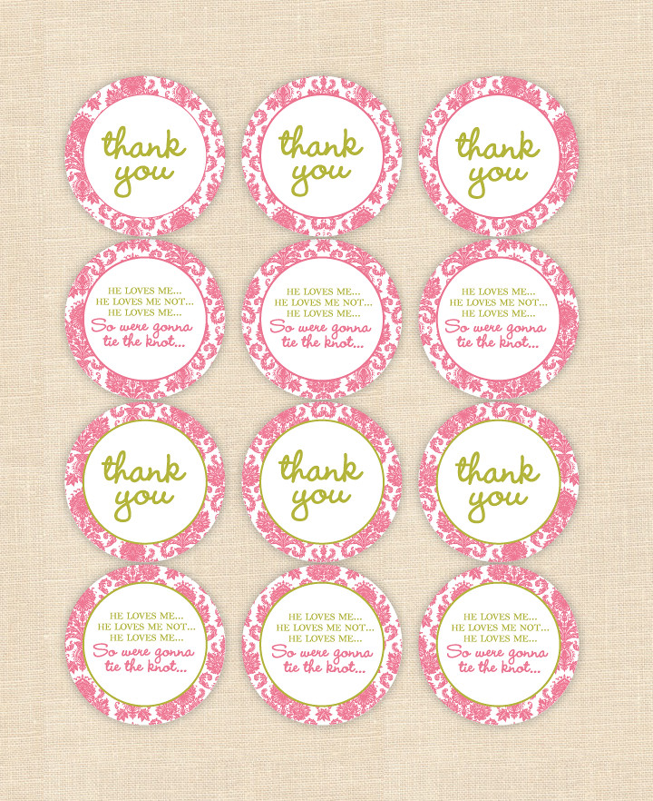 bridal shower cupcake thank you tags by blush printables