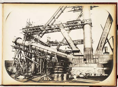 Forth Bridge construction: Fife cantilever, showing arrangement of platforms for construction of struts and ties | by National Library of Scotland