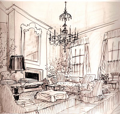 The greatest albert hadley sketch betsywilt flickr for Interior designs sketches