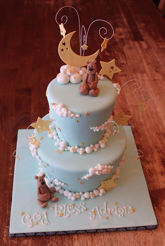 Moon, Stars, and Clouds cake with gum paste Teddies | by Andrea's SweetCakes
