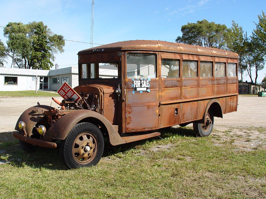 Antique School Bus 1930 S Era Front Driver S Side Vi