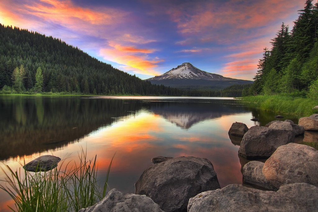Sunset At Trillium Lake With Mount Hood Hdr Please