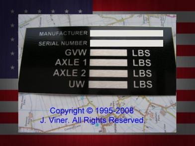 "Vehicle Vin Number >> USA ID Tag, trailer, chassis. | VIN PLATE"" Blank, Trailer, ""… 