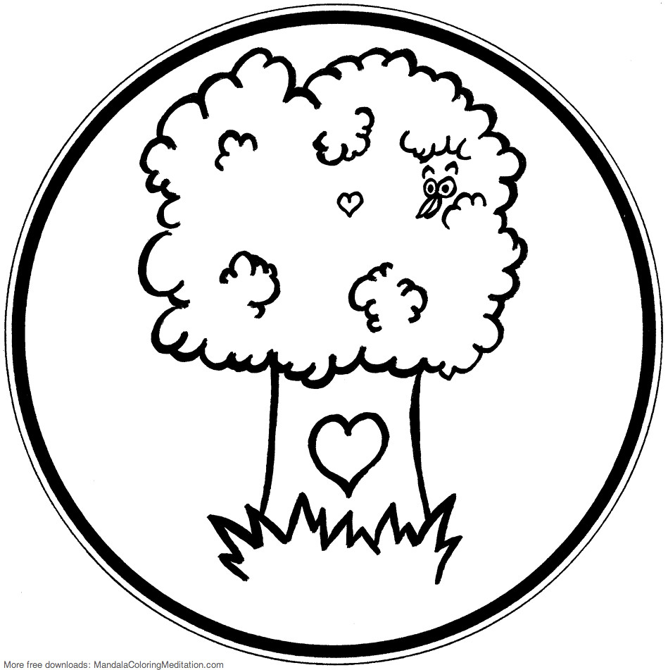 Printable Children Coloring Page Tree Mandala A Tree