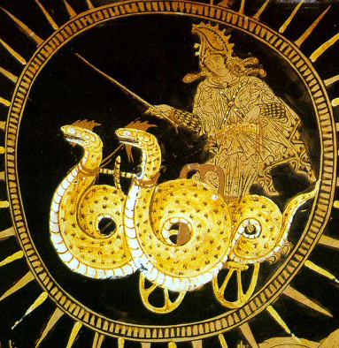 Dragon-Chariot of Medea - Ancient Greek Vase Painting