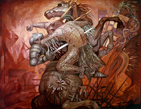 La fusi n de dos culturas de jorge gonz lez camarena flickr for Mural mexicano