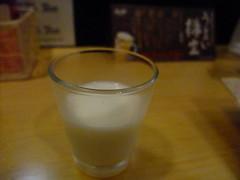Complimentary milk with beer @ Yokohama Yakitori Kobou