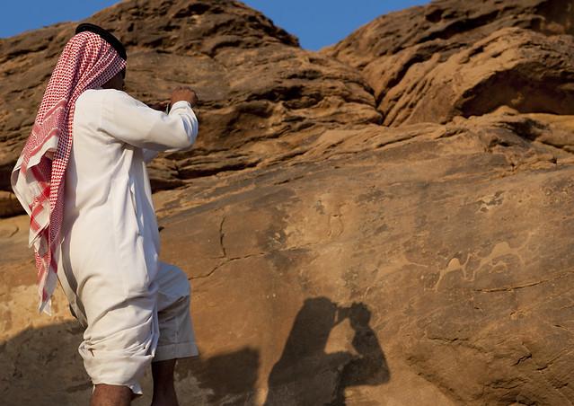 Rock carvings in najran abar hima site saudi arabia