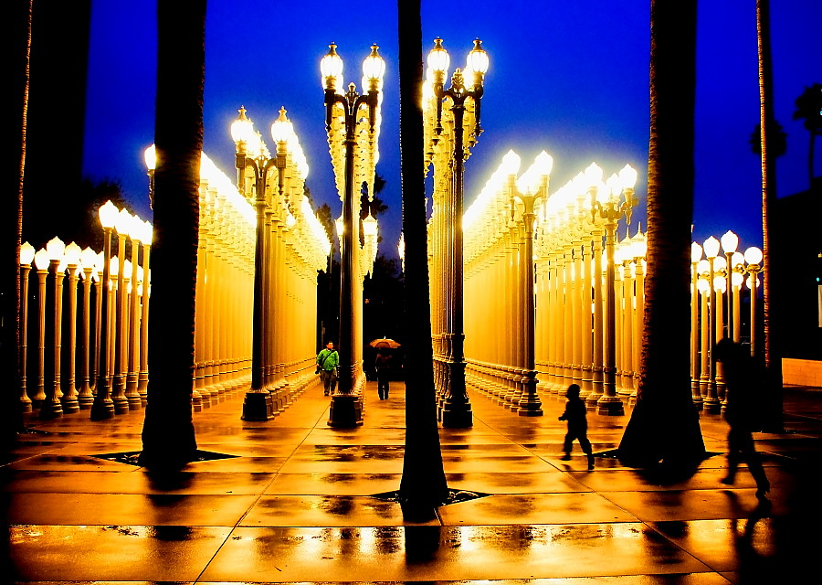 LACMA Urban Lights at blue hour after the rain Burden says…