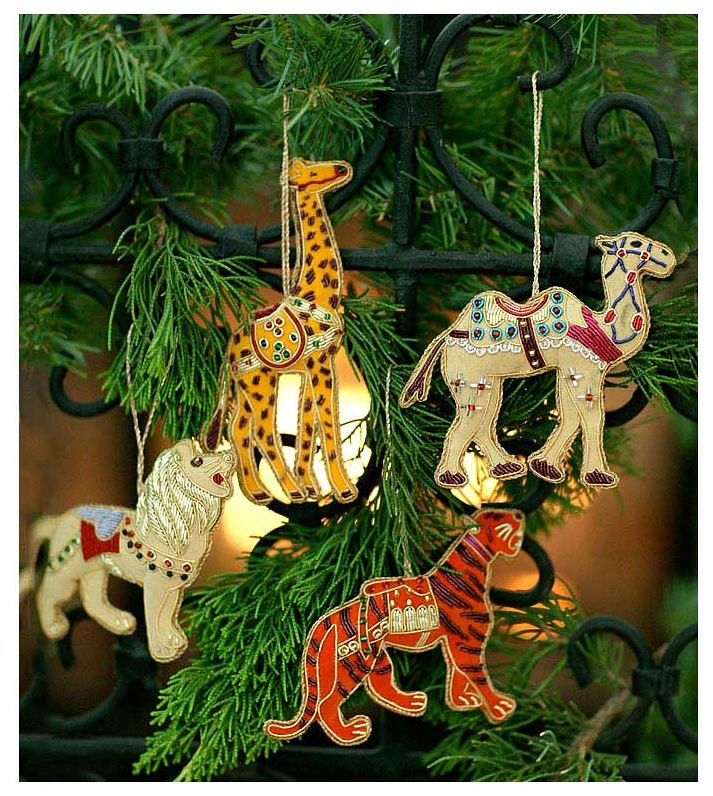Hand Embroidered Safari Christmas Ornaments, Set Of 4~Free
