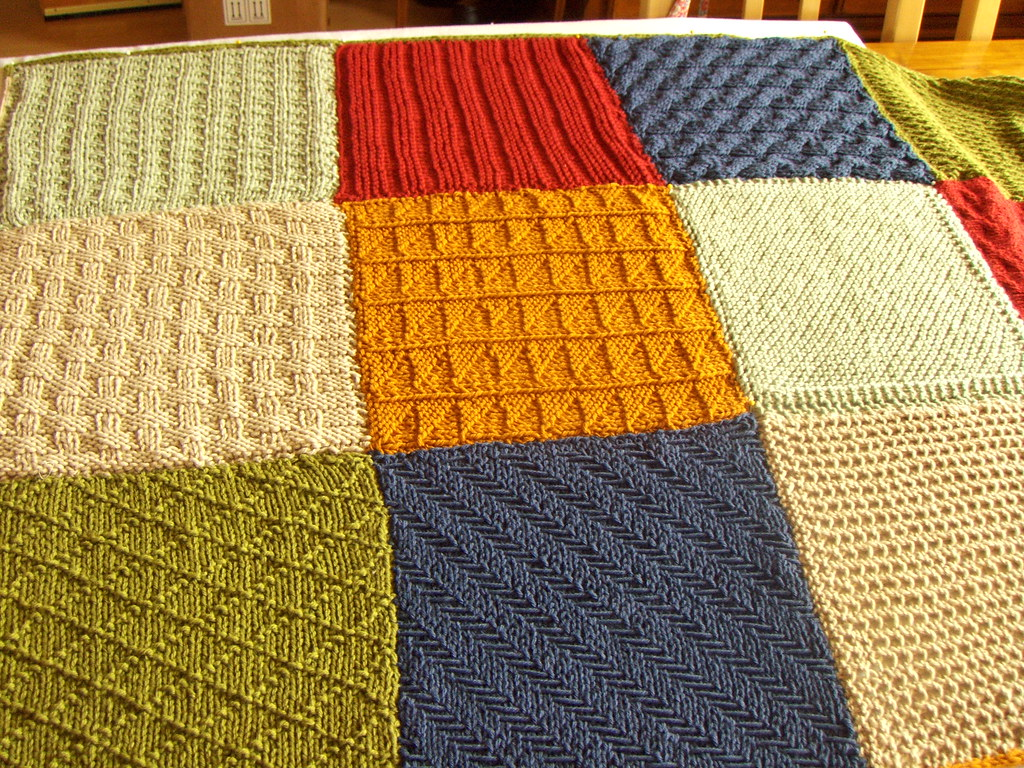 Knitting Patterns Squares : Knitted squares blanket A skien and pattern sent every mon? Flickr