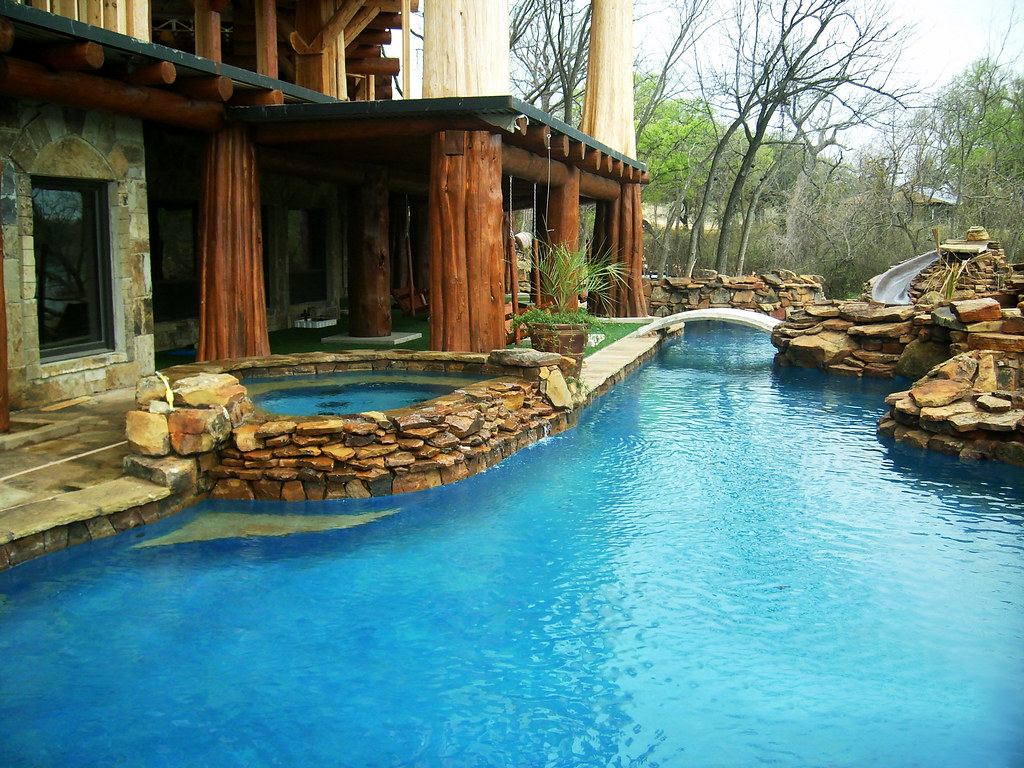Landscape Boulders Dallas Tx : Swimming pool design dallas texas moss boulders help creat