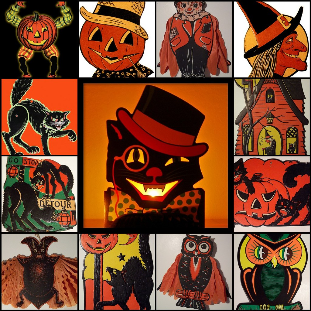 tilt 6 vintage beistle halloween decorations by phillaine - Beistle Halloween Decorations