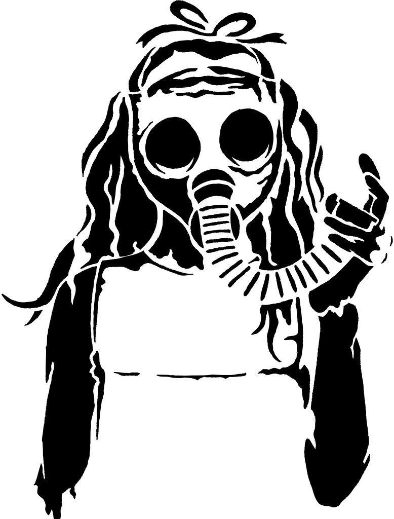 Gas Mask Girl   A stencil of a girl wearing a gas mask ...