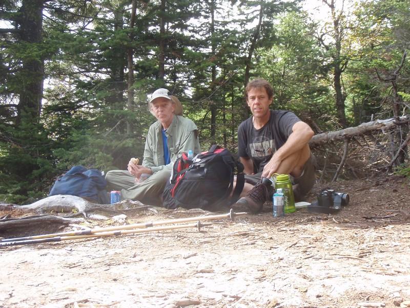 Taking a break on the summit of Indian Head Mountain