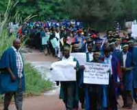 Lecturers demonstrating in southeast Nigeria against the cuts in higher education. The Academic Staff Union of Universities (AASU) has been striking in the region since July 2010. | by Pan-African News Wire File Photos