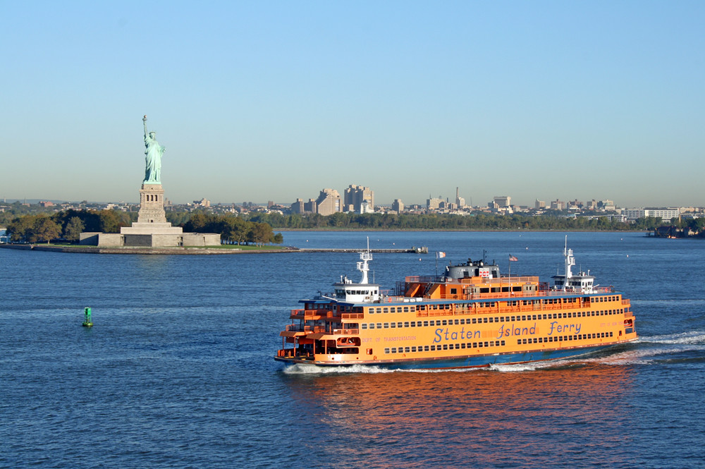 Staten Island Ferry in New York Harbor with view of the Statue of Liberty