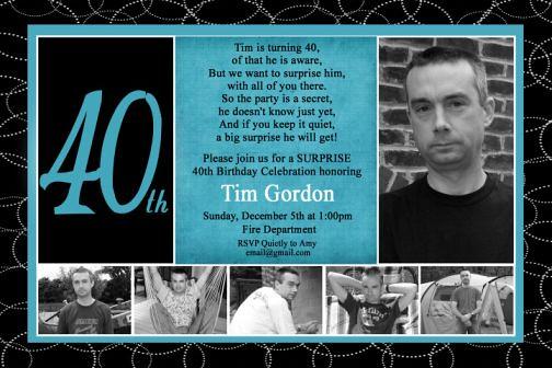 Black Turquoise 40th Birthday Photo Invitation Modern Chil ...