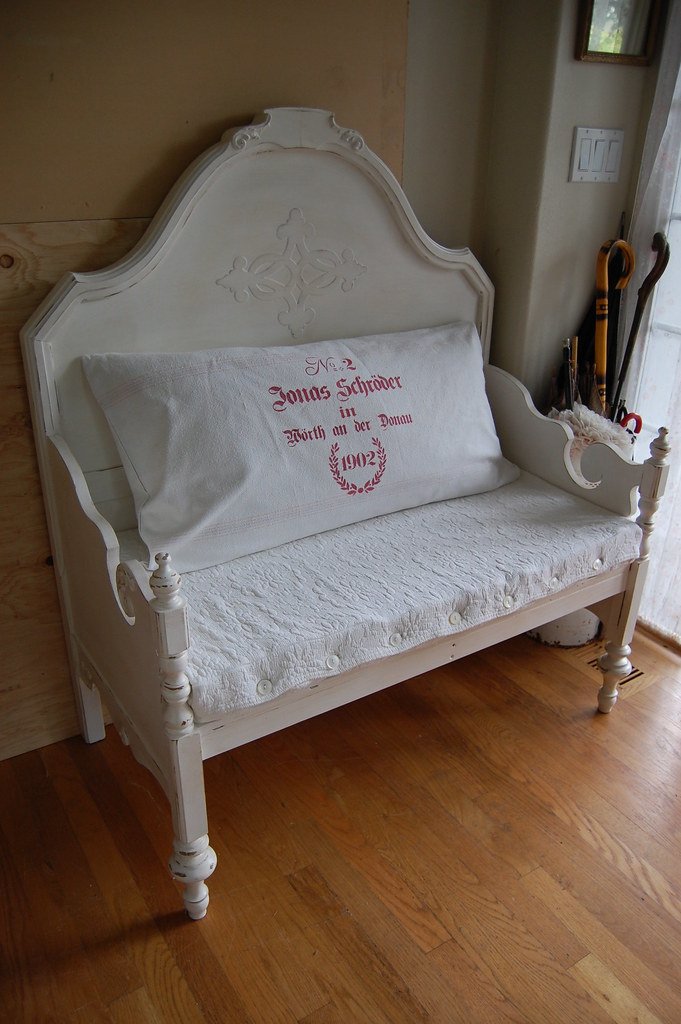 Antique Bed Stool: Bench Made From Bed Headboard And Footboard